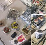Memorabilia, Grouping of assorted Valor Pins, Religious items, Ammo box