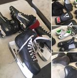 Group of assorted Shoes, Ice skates, Cleats, Boxing gloves, padded Bike seats