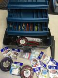 Flambeau Outdoors tackle box with new and used accessories