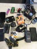 Lot. Assorted cell phones, walkie talkie, binoculars, lights, etc