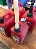 2) 2 gallon 2) 1 gallon gas containers