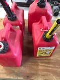 3) 1 gallon 1) 2 gallon gasoline containers