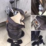 K Knight golf in bag, 13 assorted clubs, balls, golf tees, etc