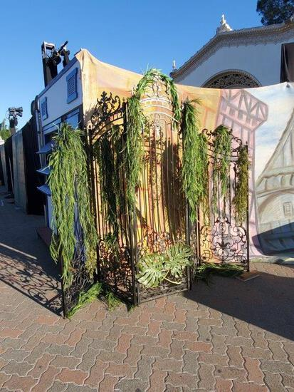5 panel , foldable, decorative iron gate. Heavy. 125? W total