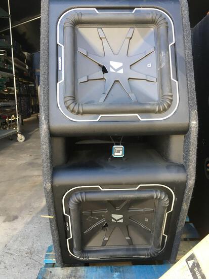 Kicker dual car speakers in vented enclosure . Cracks on speakers see pics