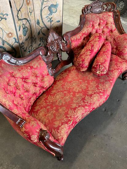 """Victorian style couch with two pillows. 3' T x 70"""" x 30""""D"""