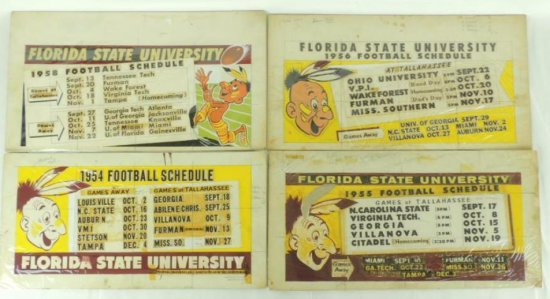 1954, 55, 56, and 58 Florida State University Football Schedule Proof's