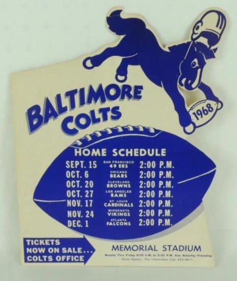 1968 Baltimore Colts Cardboard Countertop Football Schedule