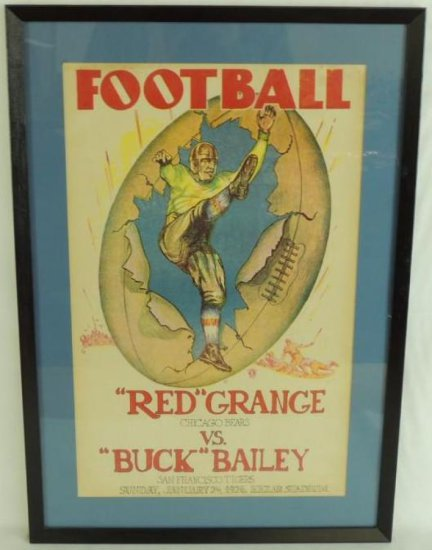 1926 Red Grange Chicago Bears vs Buck Bailey San Francisco Tigers Game Broadside