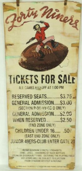1955 San Francisco 49ers Kezar Stadium Wood Ticket's for Sale Sign