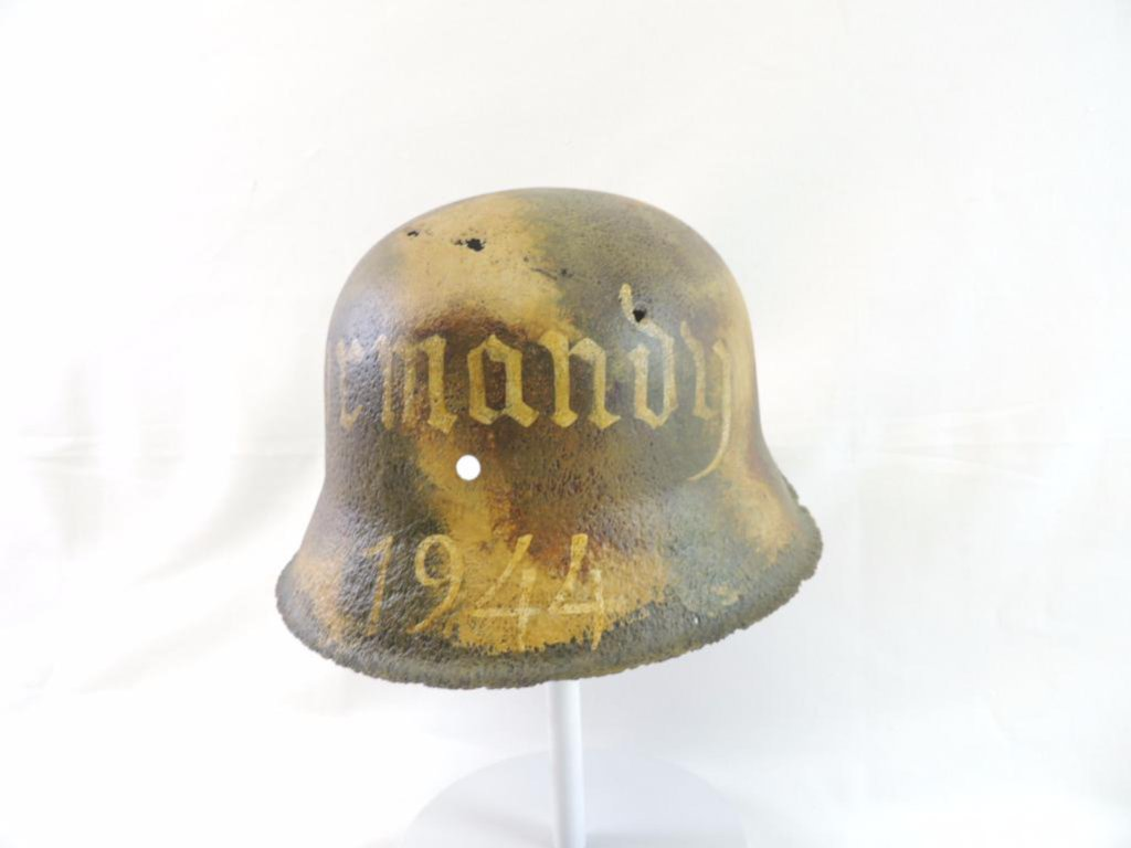 Lot: WW2 German Helmet with Original Battle Damage and Art