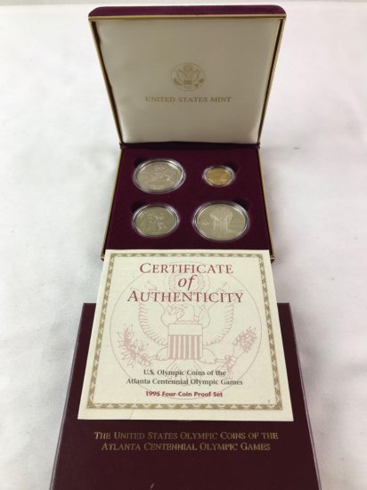 Atlanta 1995 Olympic 4 coin Proof Set Silver and Gold