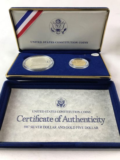 1987 US Mint Constitution Silver and Gold Proof Set