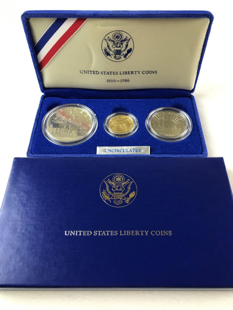1986 US Mint Liberty 3 Coin Proof Set