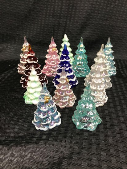 Lot of 13 Fenton handpainted glass Christmas trees