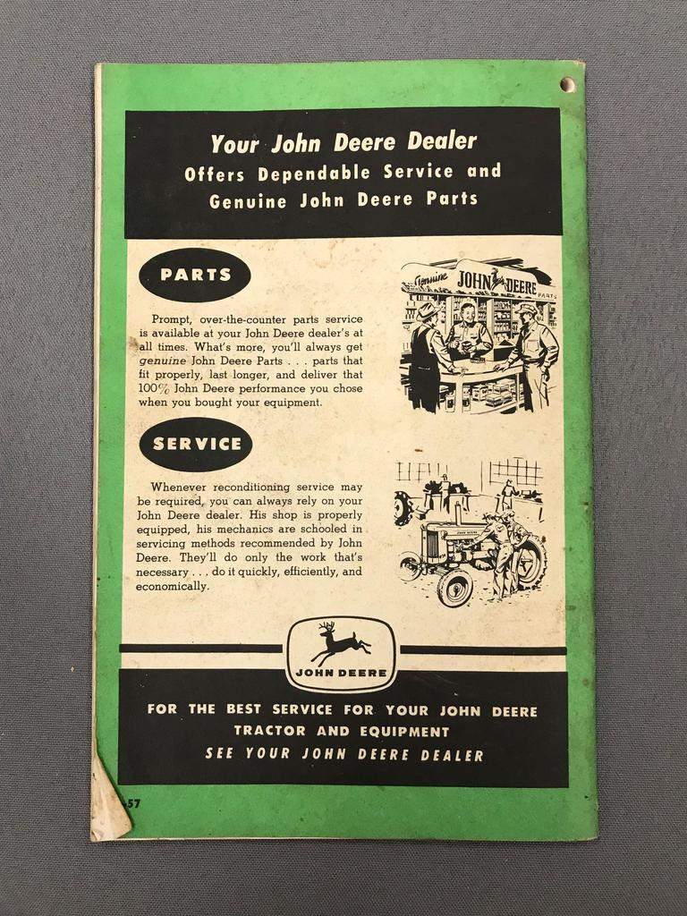 Lot: Antique John Deere model G tractor owners manual