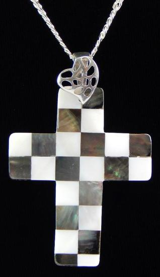 Abalone & Mother of Pearl Mosaic Checkered Cross Pendant