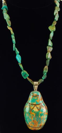 Gale Self Choctaw Signed Sterling Silver & Turquoise Necklace