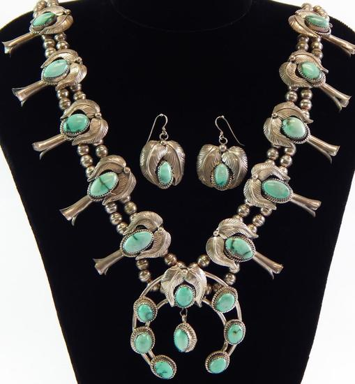 Vintage Green Turquoise Squash Blossom Necklace & Earrings Set