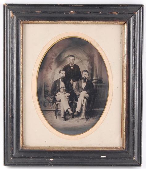 Antique Tin Type Photograph of 3 Men