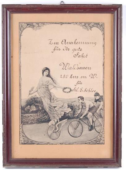 Antique German Zur Olnerkenning Bicycle Advertisement