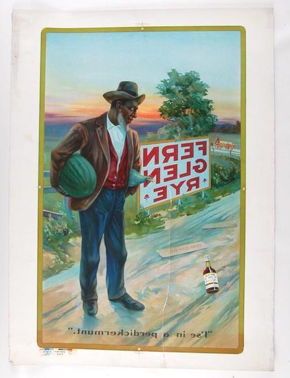 Antique Black Americana Gern Glen Rye Whiskey Advertising Printers Proof