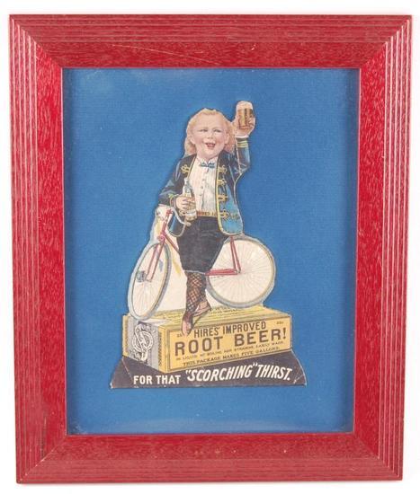 Antique Hires Root Beer Die Cut Cardboard Advertisement