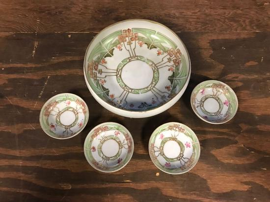 Vintage Japanese made master bowl with four serving bowls