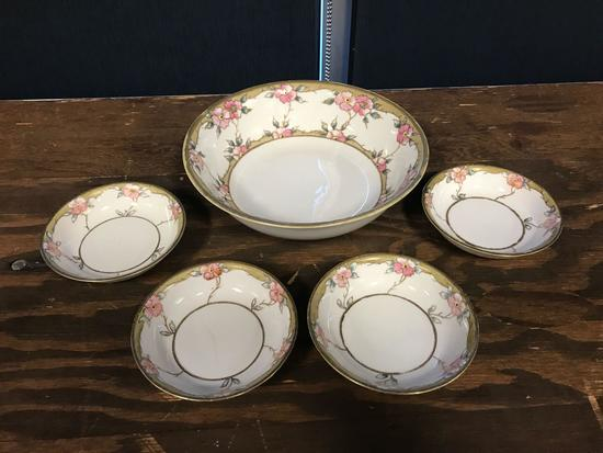 Vintage Nippon hand painted master bowl with for serving bowls