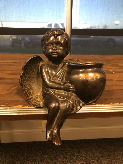 Vintage heavy bronze angel sitting statue with pot