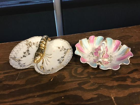 Group of two antique porcelain serving dishes featuring lobster and flowers