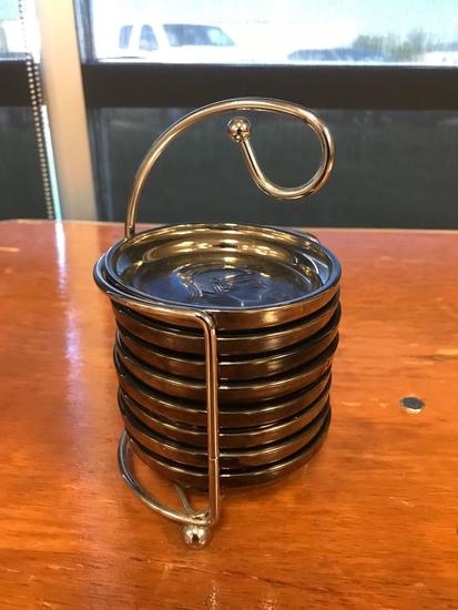Vintage Legionaire coaster set with storage rack