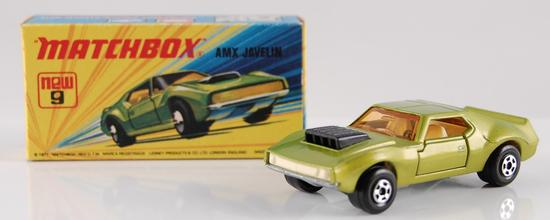 Matchbox Superfast No. 9 Green/Gold Body AMX Javelin with Original Box and White Interior