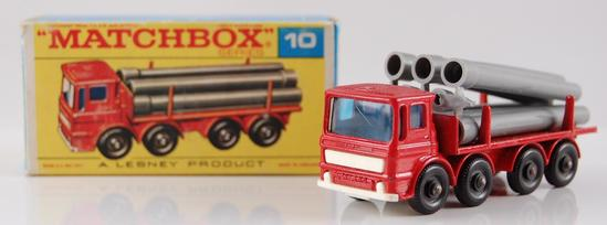 Matchbox No. 10 Red Pipe Truck with Original Box