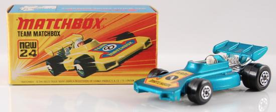 Matchbox Superfast No. 24 Blue Body Team Matchbox with Original Box