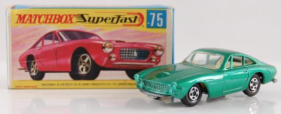 Matchbox Superfast No. 75 Green Body Ferrari Berlinetta with Original Box