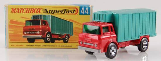 Matchbox Supergast No. 44 Red and Turquoise Body Refridgerator Truck with Original Box