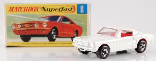Matchbox Superfast No. 8 White Body Ford Mustang with Original Box and Red Interior