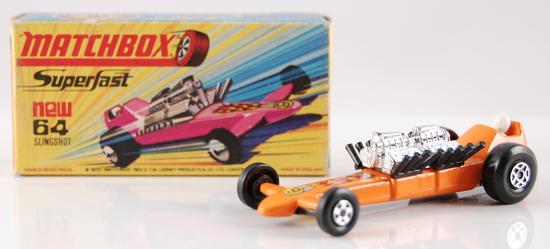 Matchbox No. 64 Orange Body Slingshot Dragster with Original Box