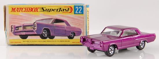 Matchbox Superfast No. 22 Purple Pontiac Grand Prix Sports Coupe with Orignal Box