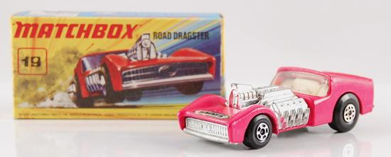 Matchbox No. 19 Hot Pink Road Dragster with Original Box and Wynn's Decal