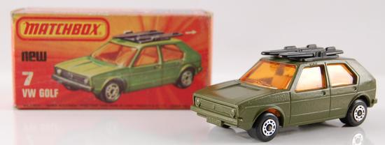 Pre Production Matchbox Superfast 75 No. 7 Military Army Green Volkswagon Golf with Original Box