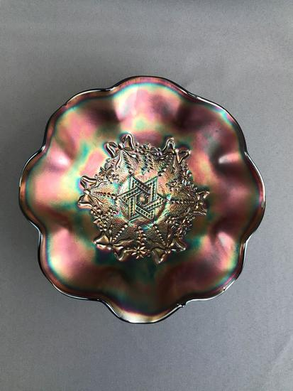 Vintage Northwood Amethyst Iridescent Star of David and Bows Carnival Glass Bowl