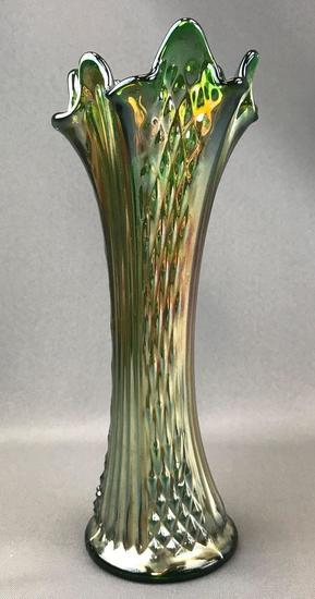 Vintage Green Iridescent Carnival Glass Vase