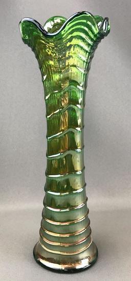 Vintage Green Iridescent Ripple Design Carnival Glass Vase