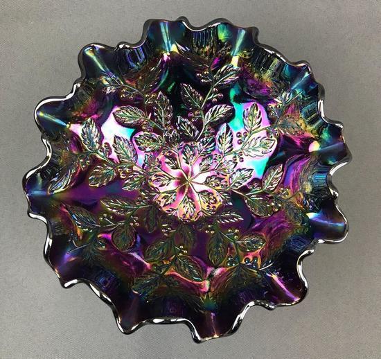 Vintage Fenton Amethyst Iridescent Ribbon Edged Bowl