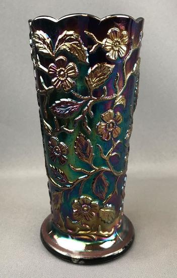Vintage Fenton Amethyst Iridescent Peacock Design Carnival Glass Vase