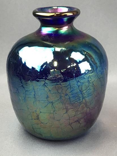 Vintage Blue Iridescent Carnival Glass Vase