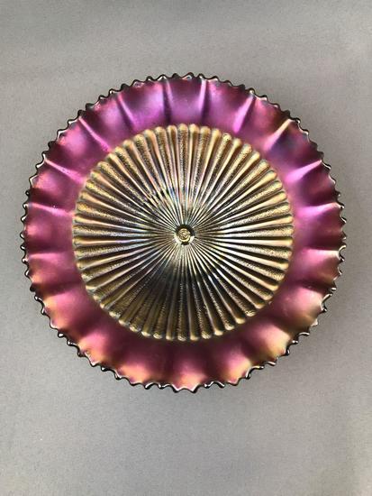 Vintage Northwood Amethyst Iridescent Carnival Glass Ruffled Edge Bowl