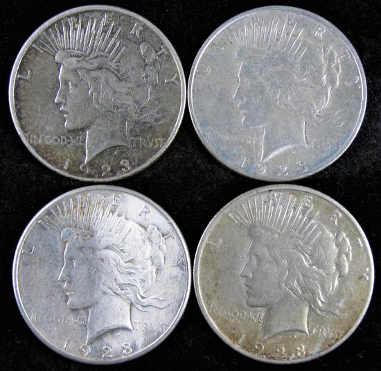 Lot of (4) Peace Dollars includes (2) 1923 D & (2) 1923 S.